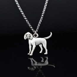 antique silver chain wholesale Australia - Antique Silver Coonhound Dog Pendant Stainless Steel Chain Necklace Boho Unique Animal Chocker Fashion Accessories jewelery Women Necklace