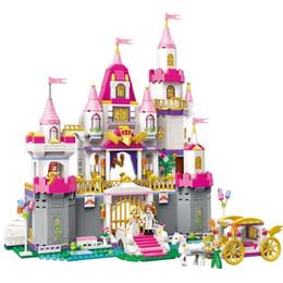 $enCountryForm.capitalKeyWord Australia - Girls Princess Castle Violet Royal Carriag Car Building Blocks Sets Friends Model Bricks Kids Toys Gift MX190730