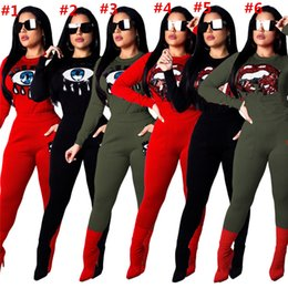 New Women Set Sexy Sequined Eyes Big Lips Printed Tops And Skinny Pants Ladies Suit Streetwear Yellow 8colors Women's Clothing