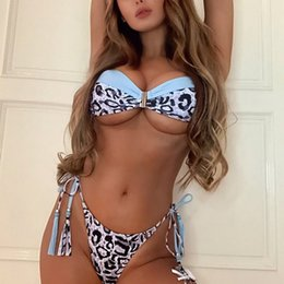 Wholesale blue bikinis for sale online – 2020 New Bikini Hot Sale Blue Stitching Swimsuit Leopard Bikini Lady Split Swimsuit Bathing Suit for Beachwear