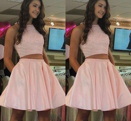 $enCountryForm.capitalKeyWord Australia - 2019 Lovely Pink Two Pieces Short Graduation Prom dresses With Pockets Beads Sequins Top A line Satin Evening Homecoming Party Dress Cheap