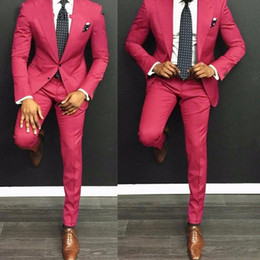 $enCountryForm.capitalKeyWord UK - Hot Pink Groom Tuxedos Peak Lapel Men Wedding Tuxedo New Fashion Men Jacket Blazer Men Prom Dinner Darty Suit(Jacket+Pants+Tie)