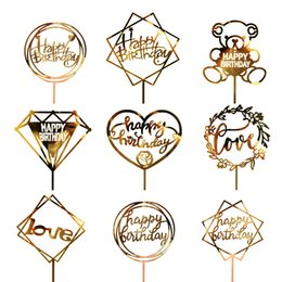 cupcake sales 2019 - Golden Glitter Acrylic Happy Birthday Cake Topper Cupcake Toppers Hot Sale Baby Shower Cake Flags Birthday Party Wedding