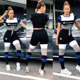 Discount girl stripped shirt - Champions Letter Women Sports Suit Fashion Striped T-shirt Top tees + Pants 2 Piece Set Tracksuit Strip Splicing Outfit
