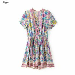 Peacock Print bohemian online shopping - Chic Summer Beach Dresses Vintage Peacock Floral Print Mini Mujer Women Fashion V Neck Floral Buttons Ladies Vestidos Dress