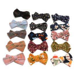 Girl flower handmade hair clip online shopping - 15 Colors Handmade Girls Hair Clip Corduroy Knot Bow Baby Hair Ornaments for School Girls Barrettes JFNY137