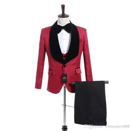White Shawl Lapel Suit UK - New Style Groomsmen Red Pattern Groom Tuxedos Shawl Black Lapel Men Suits Side Vent Wedding Prom Best Man ( Jacket+Pants+Vest+Tie ) K918