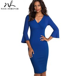 nice sexy party dress UK - Nice-forever Elegant Pure color Sexy V-neck vestidos Business Party Bodycon Vintage Women Sheath Dress B541 Y200418