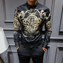 feda773517 Black Gold Print Shirt Baroque Slim Fit Party Club Shirt Men Camisa Homem Male  Long Sleeve Shirt Oversize 4xl Hip Hop C19041702