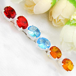 brazil earrings Australia - 2018 Bulk 10 Pairs   Lot Mix Color Classic Party Jewelry Ellipse Red Quartz Brazil Citrine blue Gemstone 925 Sterling Silver Stud Earrings