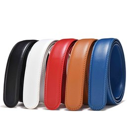 wide red leather belt UK - 3.0cm Width Real Leather Belt No Buckle for Automatic Buckle 3.50cm Wide Men Leather Belts Body White Red Blue Brown Black