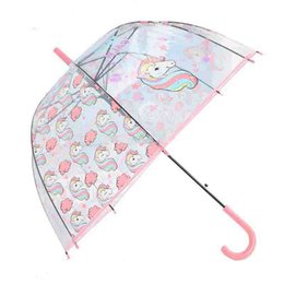 umbrella bubble transparent wholesale Canada - Catoon Unicorns Umbrella for Children Gift Mushroom Shaped Long Handle Transparent Umbrellas Bubble Deep Dome Arch Umbrella for Waterproof