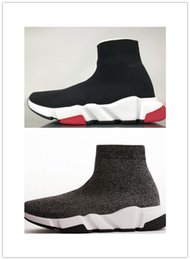 Sneakers Bag Australia - Designer Sneakers Speed Trainer Black Red Gypsophila Triple Black Fashion Flat Sock Boots Casual Shoes Speed Trainer Runner With Dust Bag 3A