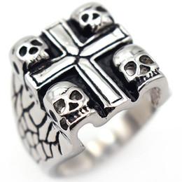 $enCountryForm.capitalKeyWord Australia - Titanium steel Cross Ghost Head Charms Mens Jewelry Rings Designer Love Brand Men Ring Charm Fashion Designer Jewelry Men Rings