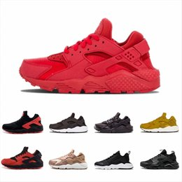 Discount black white stripes roses - Air Huarache 1.0 4.0 Men Running Shoes Stripe Red Balck White Rose Gold Women Designer Shoes mens Sport Sneakers