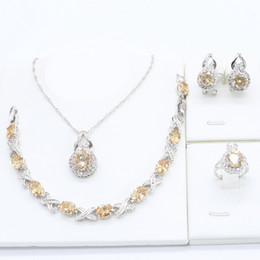 wholesale pendant sets NZ - Champagne Cubic Zirconia 925 Silver Jewelry Sets for Women Bracelet Necklace Pendant Ring Hoop Earrings Wedding Birthday Gift
