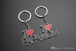 Christmas Gift Lover Australia - Free DHL I Love Papa MAMA Keychain Creative Car Key Rings Letter Keyrings Love Heart Key Chain Mother Father Christmas Gift G308S F