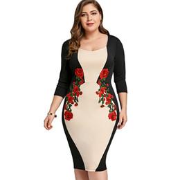 5498278f8e1 Bloque de color rodilla longitud vestido online-Más el tamaño de vestido  ajustado bodycon color