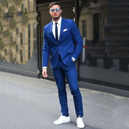 $enCountryForm.capitalKeyWord Australia - Mens Suits with Pants Wedding Suits for Groom Tuxedo Royal Blue Man Business Traje Hombre Costume Homme 2Piece Slim Fit Terno Masculino