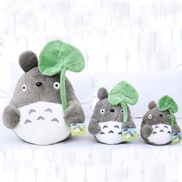 leaf toys NZ - 25cm cute cat plush toy,totoro plush doll, totoro with lotus leaf,kids toys,small pendant,best gift for children 35cm 45cm 55cm