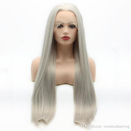 Discount lace front grey wig - Free Shipping Straight Long 26inch Light Grey Wig Half Hand Tied 3inch Middle Part Heat Resistant Synthetic Lace Front W