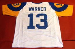 Дешевые ретро # 13 KURT WARNER CUSTOM High-End W MITCHELL NESS Джерси Мужские швы High-End Размер S-5XL Футбол Jerseys College NCAA на Распродаже