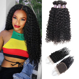 Discount dark brown malaysian hair - 8-28 Brazilian Kinky Curly Body Wave 3 4Bundles With 4x4 Lace Closure Loose Virgin Hair Extensions Deep Wave Human Hair