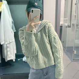 Discount top korean clothing brands - Brand Sweater Cardigan Women 2019 Autumn Winter Casual Solid Hooded Tops Loose Kawaii Korean Style Long Sleeve Knitting