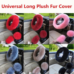 2019 Hot DHL Shipping Universal 3pcs set Fur Wool Furry Fluffy Thick Car Steering Wheel Cover Winter Faux fur Warm on Sale