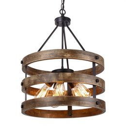 wood light lamps UK - Metal and Circular Wood Chandelier Pendant Lamp Five Lights Black Finishing Retro Vintage Industrial Rustic Ceiling Lamp Light Fixtures