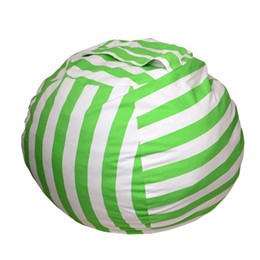 Storage Chair Australia - Kid's Stuffed Animal Storage Bean Bag Chair with Extra Long Zipper Carrying Handle Large Size (Green Stripe)