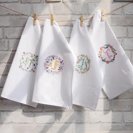 White Cotton Napkins Australia - 5psc Hand embroidered napkin, white wine cup towel, cotton dish towel cover, cloth cushion 45*70cm
