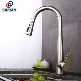 Kitchen Pull Handles Australia - SOGNARE Kitchen Sink Faucet For Kitchen Faucet Pull Out Handle Solid Brass Single Handle Mixer Sink Mixer Water