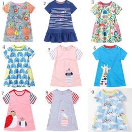 e1df6835 Baby girls Flowers printing dress summer Children stripe animal princess dresses  cotton kids Clothing 9 colors C2595