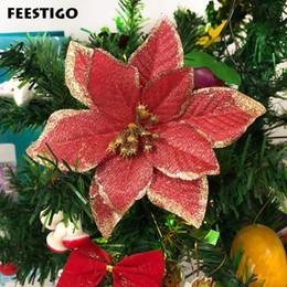 $enCountryForm.capitalKeyWord Australia - Feestigo 13cm 30pcs Christmas Tree Ornaments Artificial Glitter Flowers Christmas Decoration For Home New Year Products Navidad Y19061103