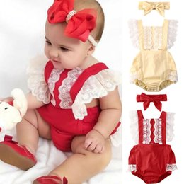 single flowers hair Canada - Princess Baby Girls Lace Ruffles Romper Bow Hair 2Pcs Summer Newborn Baby Clothes 2020 Cute Backless Lace Bodysuit 0-24M
