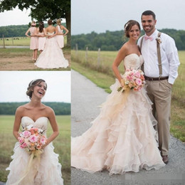 Blush Ruffle Wedding Dresses Australia - Modest Blush Pink Country Wedding Dresses with Ruffles Skirt Sweetheart Lace Organza Vintage Bridal Gowns Plus Size Wedding Dress Cheap