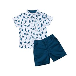 kids dinosaur clothing Canada - New Toddler Baby Boys Kids Summer Dinosaur Clothes T-shirt Tops + Shorts Outfits Set
