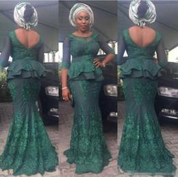 $enCountryForm.capitalKeyWord Australia - Arabic Lace Evening Prom Dresses Mermaid Sheer Neck African Illusion 3 4 Sleeves Prom Dress Plus Size Aso Ebi Peplum Formal Party Gowns