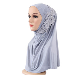 China New Pattern Ouleisi Point Drill Monochrome Split Joint Scarf Muslim Ma'am Fashion Patch Hijab Goods In Stock cheap linen scarves muslim suppliers