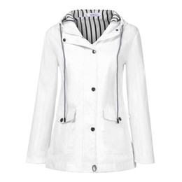 white raincoats Canada - Plus Waterproof Jacket Outdoor White Women Rain coats and jackets women Hooded Raincoat chamarras de mujer
