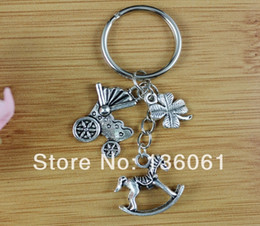 Vintage Metal Horses Australia - Hot Vintage Silver BABY Car & Rocking Horse Charms Key Chain Keychain Ring For Keys Car DIY Bag Key Ring Handbag Gift P1038