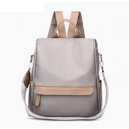 Shoulder Straps Backpack NZ - Female School Bags Waterproof Nylon Backpack Women Wide Strap Shoulder Bag Leather Backpacks For Teenage Girls 2019 New Lw-106