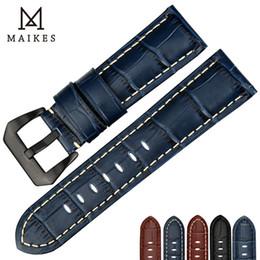 $enCountryForm.capitalKeyWord Australia - Maikes Quality Genuine Leather Watch Strap 22mm 24mm 26mm Fashion Blue Watch Accessories Watchband For Panerai Watch Band T190620