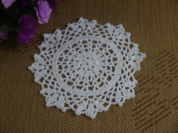 "White Cotton Napkins Australia - 20cm 8"" Handmade Crocheted Doilies Cotton Table Napkin pad Round Mats White Coasters for wedding home decoration"