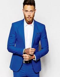 Images Dress Slim NZ - Brand New Royal Blue Men Wedding Tuxedos Notch Lapel Slim Fit Groom Tuxedos Popular Dress Men Business Dinner Darty Suit(Jacket+Pants+Tie)20
