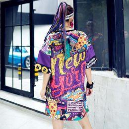 $enCountryForm.capitalKeyWord Australia - Wholesale- Harajuku Oversized Long T shirt Women Loose Tops Summer 2017 Vestidos Printed Letter HIP HOP Dance Clothes Women Tops Tee