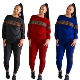 longer length sweatshirts Canada - Autumn Women Sets Leopard Patchwork Long Sleeve Sweatshirt + Pencil Pants 2 Piece Outfits Sportwear Fitness Tracksuits
