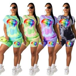 $enCountryForm.capitalKeyWord Australia - Womens clothing designer tracksuit summer tshirt shorts suit sportsuit T-shirt Tee womens Tops pants legging fashion lips print suit klw1751