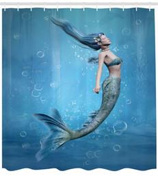 Fairy Bathroom Decor Australia - Mermaid Shower Curtain Blue Decor Mermaid Fishtail Floating Bubbles Mythical Creature Fairy Ocean Life Art Bathroom Accessories